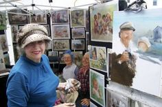 Renowned artist and scultpor Dianne Dengel painted her lovable characters onsite