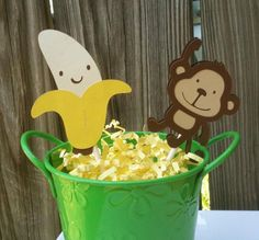 Monkey & Banana Cupcake Toppers and Wrappers - Baby Boy Shower - Monkey Party - Jungle Party - Zoo Party - Birthday Party - 24 Pieces. $14.00, via Etsy.