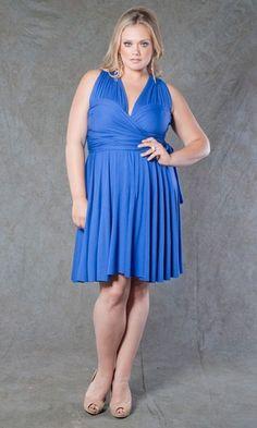 3a2b3ddaec782 SWAK Designs Sexy Eternity Royal Blue or Fuchsia Pink Wrap Party Dress Plus  Size