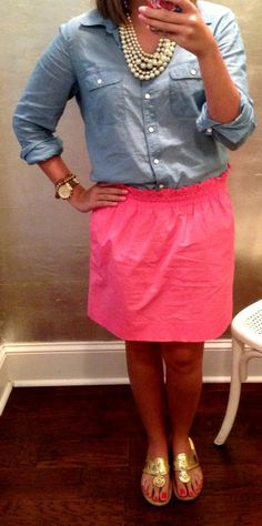 Chambray + pink skirt + jack Rogers = perfection