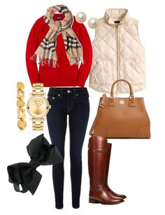 Red Ralph Lauren Sweater, J. Crew Puffer Vest in Warm Bisque, True Religion Jeans in a dark wash, Burberry Scarf, Tory Burch Bag and Boots, Movado Watch paired with a gold bracelet, pearl studs, and a black bow. Missing winter in the summertime.