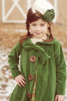 cute little girl in a Green Flower Pill Box Hat