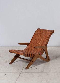 Jose Zanine Caldas; Wood and Leather 'Z' Line Lounge Chair, 1950s.