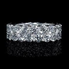 Diamond Two Row 18k White Gold Eternity Wedding Band Ring