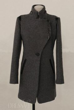 Shop High Quality Dark Gray Stand Collar Woolen Overcoat  At Dressve.Com, And The Price Is Low Only At US$30.99