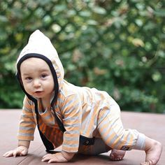 KidCuteTure Orange Silver Stripe Hood Knit Jacket Baby Boys 6-24M