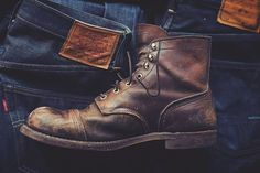 A worn-out Red Wing Iron Ranger Boot on Levi's Jeans. http://www.redwingheritage.com/USD/product/footwear/6-inch-boots/6-amber-8111-08111