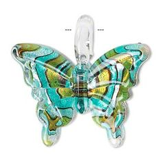 Pendant, lampworked glass, multicolored, 38x28mm single-sided butterfly with swirled pattern. Sold individually. - Fire Mountain Gems and Beads
