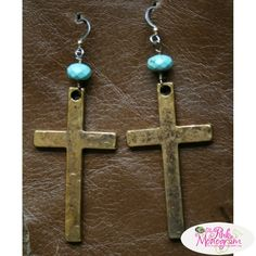 Brass Cross And Turquoise Earrings At The Pink Monogram