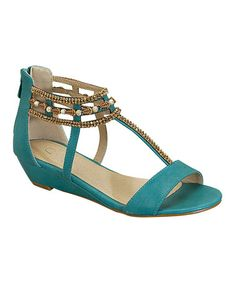 Another great find on #zulily! Aqua Bead Elena Gladiator Sandal by Heart #zulilyfinds
