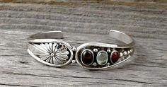 Navajo Silver Garnet Topaz Cuff Bracelet, Native American, Topaz Cuff Bracelet, Silver Bracelet, Made In The USA, Cuff Bracelet, #ETSY