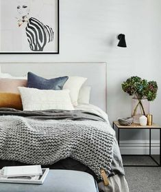 Plenty of cushions, throws and bedding in cosy textures create a relaxing bedroom. Keep the space neutral with white walls and soft grey carpet, adding rich layers of colour through furnishings. Beige Carpet Bedroom, White Wall Bedroom, Gray Bedroom, Grey Bedding, Living Room Carpet, Home Bedroom, Bedroom Ideas, Bedrooms With White Walls, Bedrooms With Carpet