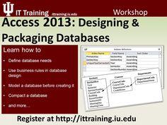 Access 2013: Designing & Packaging Databases Register now at http://www.ittraining.iu.edu