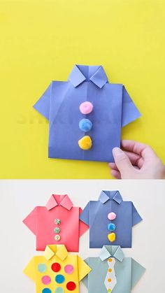 Make these origami shirt father's day cards with the kids to celebrate dad. Include a photo to make it a special handmade father's day card! crafts ideas Origami Shirt Father's Day Card Diy Crafts For Gifts, Fathers Day Crafts, Paper Crafts For Kids, Diy Arts And Crafts, Creative Crafts, Preschool Crafts, Diy For Kids, Fun Crafts, Decor Crafts