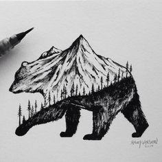 """BRUSH PEN GRIZZLY #bear #art #illustration #mountains"""