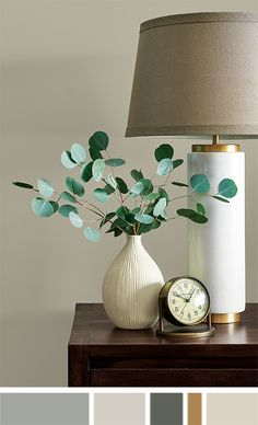 indoor paint colors Vase, clock and tubular lamp sit on end table. Interior Paint Colors For Living Room, Room Wall Colors, Paint Colors For Home, House Colors, Indoor Paint Colors, Paint Color Schemes, Sherwin William Paint, House Painting, Painting Tips