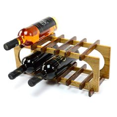 6 bottles wine rack wooden stand countertop by