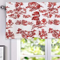 Blackout Window Valance for Kitchen Solid Rod Pocket Scalloped Valance Short Curtain 52 x 18 Inch Red 1 Panel