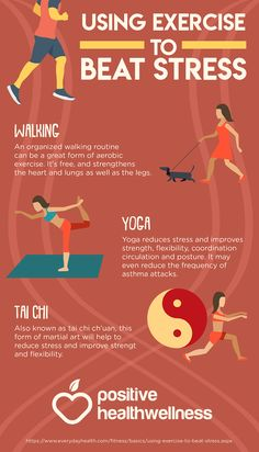Using Exercise To Beat Stress – Positive Health Wellness Infographic Health Tips, Health And Wellness, Heart And Lungs, Sports Medicine, Self Talk, Reduce Stress, Asthma, Aerobics, Jojoba Oil