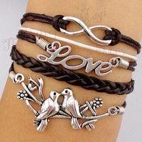 Infinity & Love Birds Charm Bracelet in Silver-Wax Cords and Leather Bracelet, Friendship gift--Personalized Bracelet