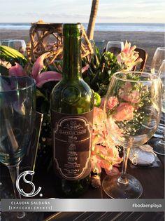 Menu de bebidas en botella  #bodaenplaya