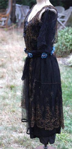 c1915 Edwardian ~ Layered Antique SILK PARTY DRESS Guipure lace, Net, Sequins. Sideway