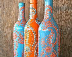 Hand Painted Wein Flasche Vase Up radelte Türkis und von LucentJane