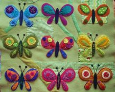 Butterfly Sampler | Bluprint Dance Tops, Christmas Ideas, Christmas Ornaments, Wool Embroidery, Different Patterns, Felt, Paper Crafts, Butterfly, Quilts