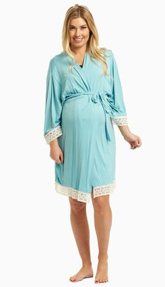 8cad49bc61b Light Blue Crochet Trim Maternity Delivery Nursing Robe