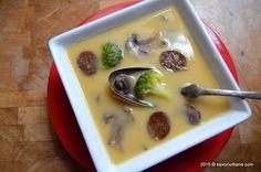 Supa crema de legume cu ciuperci European Dishes, Cheeseburger Chowder, Soup Recipes, Pudding, Desserts, Food, Supe, Tailgate Desserts, Deserts
