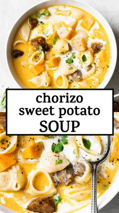 Sweet Potato Pasta, Cubed Sweet Potatoes, Vegetable Soup Recipes, Healthy Soup Recipes, Chili Recipes, Chorizo, Kitchen Recipes, Cooking Recipes, Healty Dinner