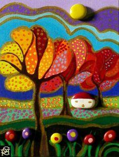Paesaggio Naif autunnale -Painted Stones di Rosaria Gagliardi