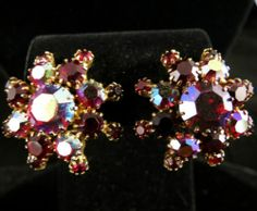 Vintage Earrings Gold Tone Red Aurora Borealis Clip On | eBay