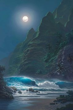 Seascape - by Roy Gonzalez Tabora, 1956 Moon Pictures, Nature Pictures, Beautiful Pictures, Amazing Photos, Beautiful Moon, Beautiful World, Hawaii Painting, Shoot The Moon, Hawaiian Art