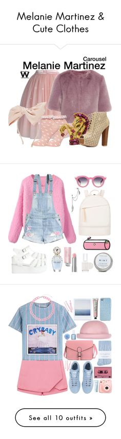 """Melanie Martinez & Cute Clothes"" by zoe-frew ❤ liked on Polyvore featuring tops, t-shirts, shirts, crop top, tees, multi, crop tee, colorful t shirts, short sleeve shirts and nebula shirt"