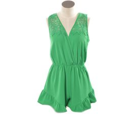 Ruffle My Feathers Romper (Green) ($52) ❤ liked on Polyvore