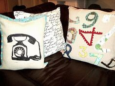 hand stitched number pillow