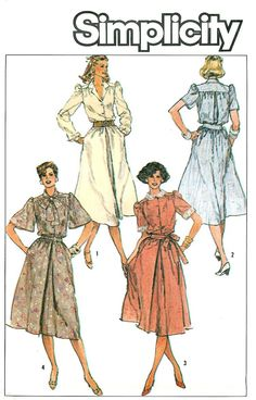 Pullover Dress Sewing Pattern 12 14 16 Button Top Full Skirt Vintage Retro Long Short Sleeve 6841
