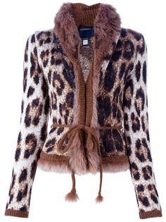 Brown wool and mohair blend jacket from Class Roberto Cavalli featuring a leopard print,