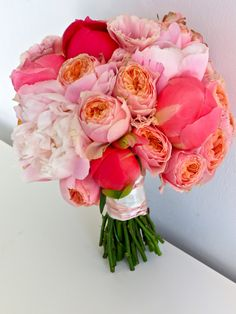 Bouquet. who knew that pink and orange would look so stunning togethor!
