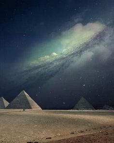 The Pyramids of Egypt under the Milky Way