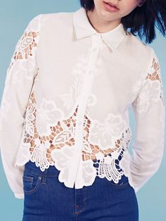 Dahlia Lila Embroidered Cutwork Cropped Collar Blouse