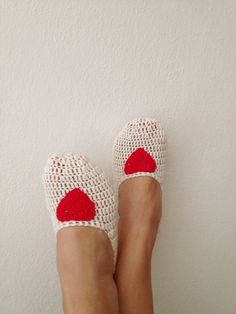 Cream with red heart Slipper Socks, Home slippers - Valentine day BUY 2 PRODUCTS and GET EXPRESS SHIPPING with the