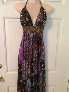 SKY Brand Multi Color Silk With Leather And Studs Halter Maxi Dress-M #Sky #Maxi #Casual