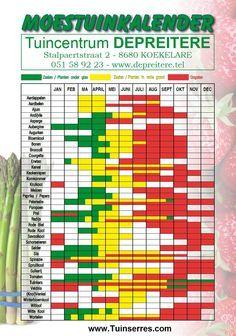 Moestuinkalender, zaaien, planten en oogsten. Super handig! ///www.dyona-webshop.nl