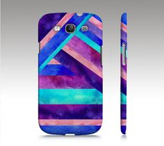 Samsung Galaxy S3 case, color-block stripe in watercolor, aqua pink purple painting art for your phone. $36.00, via Etsy.