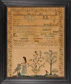 Antique sampler by BETSEY SAWYER  Newbury, MA dated 1798