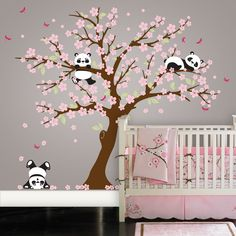 Panda and Cherry Blossom Tree Wall Deca Panda Wall Decal Blossom Tree for Baby Nursery Kids or Childrens Room 094 * See this great product.