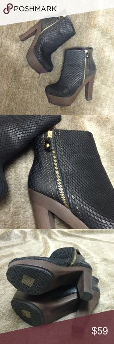 """Blonde Ambition Northern Booties Gorgeous, edgy booties with wooden platform and mixed diamond-cut leather and crocodile skin uppers. In great condition with just a few minor flaws on soles, shown. Heel approx 5 1/4"""", platform approx 1 3/4"""". Size 39. Blonde Ambition Shoes Ankle Boots & Booties"""