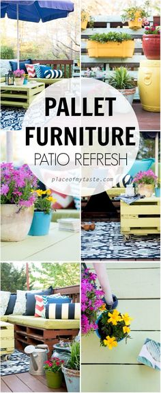What fun pallet furniture. This outdoor patio decor is amazing and you can do it, too!
